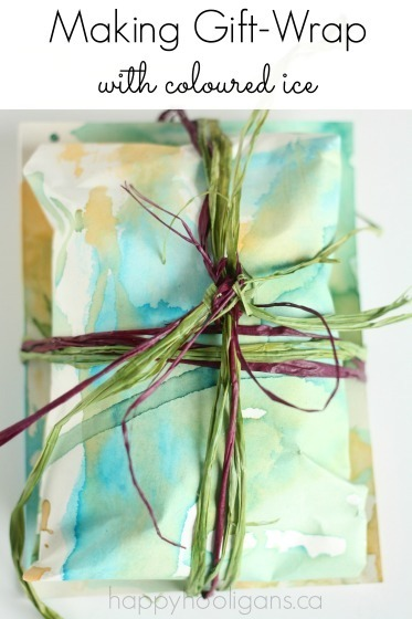 Making Homemade Gift Wrap Paper with Coloured Ice Pops
