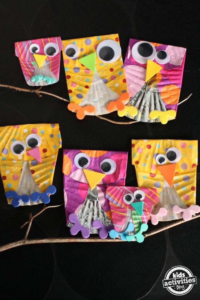 cupcake liner owl craft