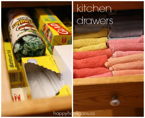 organizing plastic bags and dish cloths