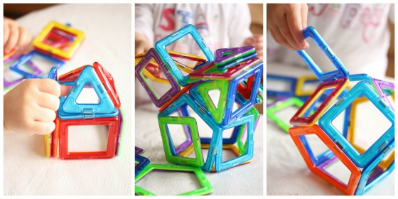 toddlers building with magformers