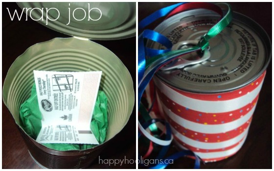 wrap a gift in a pull tab can