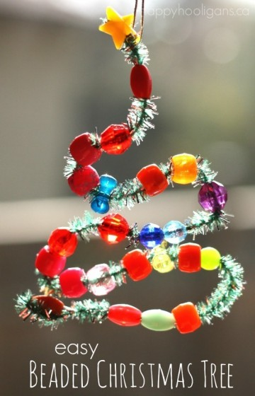 Easy Bead & Pipecleaner Christmas Tree Ornament