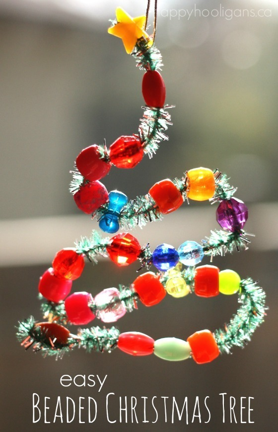 Easy Bead and Pipe Cleaner Ornaments for the Christmas Tree