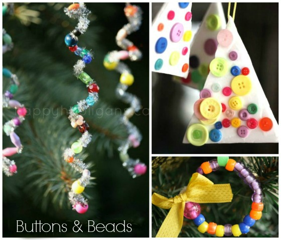 easy christmas ornaments with buttons and beads - Kids Christmas Ornaments