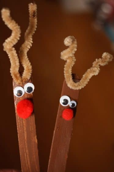 2 Popsicle Stick Reindeer Ornaments