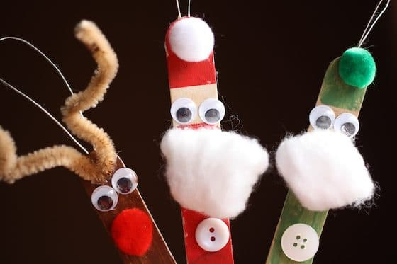 Popsicle Stick Reindeer, Santa and Elf Ornaments
