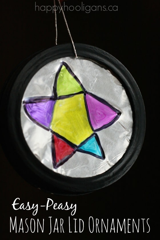 Easy Mason Jar Lid Ornaments with Sharpies and Aluminum Foil