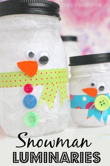 Snowman Jar Tea Light Luminaries