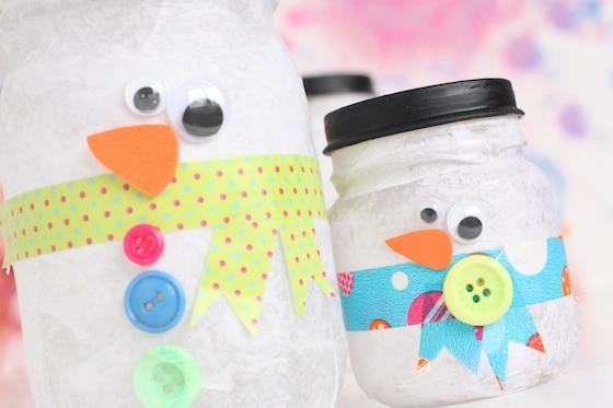 Snowman Jar Tea Light Holder