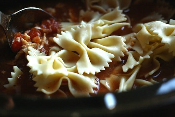 bowtie pasta in soup