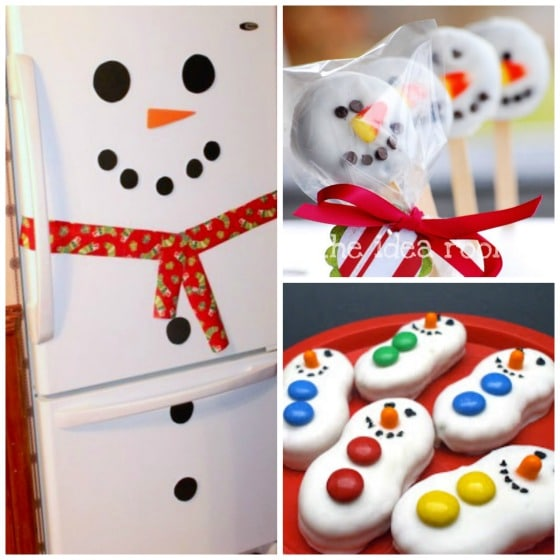 cool snowman treats and a snowman fridge too
