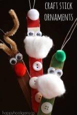 {Adorable} Craft Stick Santa, Elf and Reindeer Ornaments
