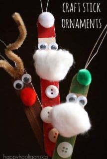 craft stick santa elf and reindeer ornaments