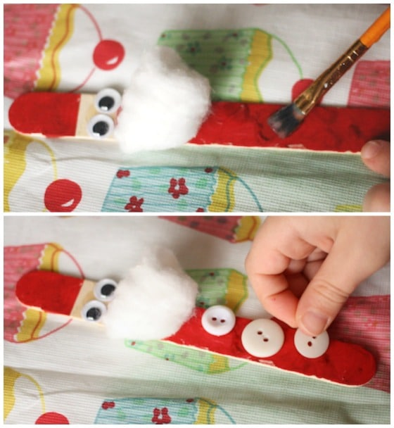 making craft stick santas