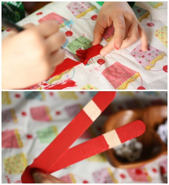 painting craft stick santas
