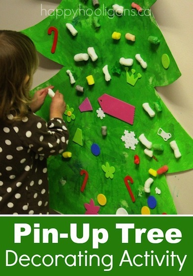 Pin-Up Christmas Tree Decorating Activity for Toddlers