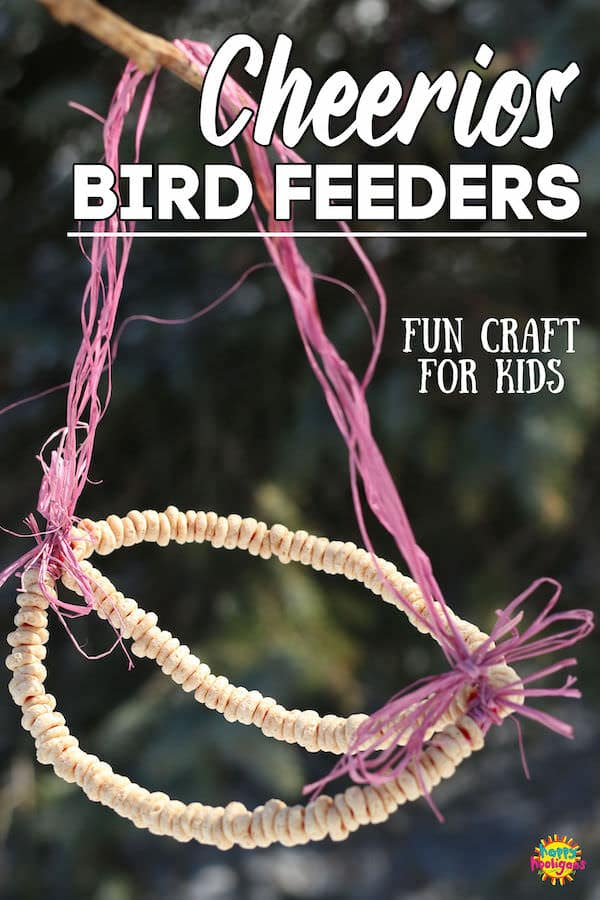 Cheerio Bird Feeder with Pipe Cleaners and raffia