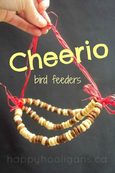 Easy Bird Feeders for kids to make with Cheerios and Pipe Cleaners - Happy Hooligans