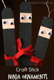 Craft Stick Ninja Ornaments