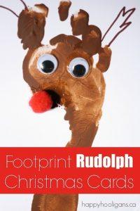 Footprint Rudolph Christmas Card