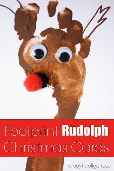 Footprint Rudolph Christmas Card