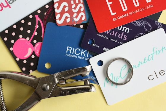 gift cards - key ring - hole punch