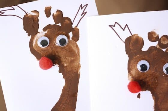 footprint Rudolph Christmas cards