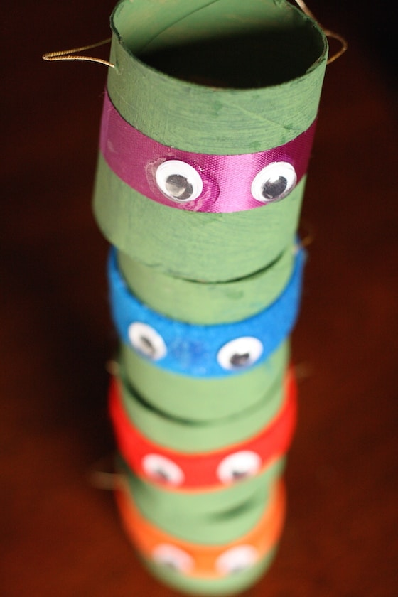 Stack of TMNT toilet roll ornaments