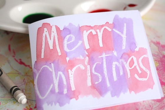 homemade Christmas card with paint resist technique