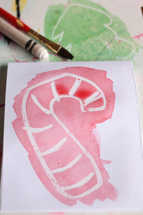 candy cane christmas card for kids to make