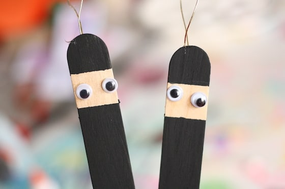 popsicle stick ninjas with googly eyes