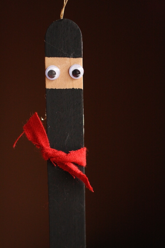 Popsicle Stick Ninja with Red Belt