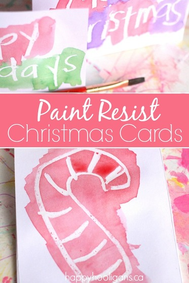 Wax Resist Christmas Cards for Kids to Make