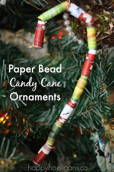 Paper Bead Candy Cane Ornaments