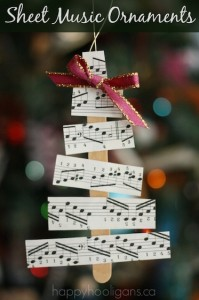 craft stick sheet music christmas tree ornament