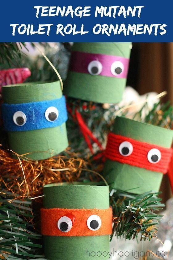 Teenage Mutant Ninja Turtle Ornaments made from toilet rolls - Happy Hooligans