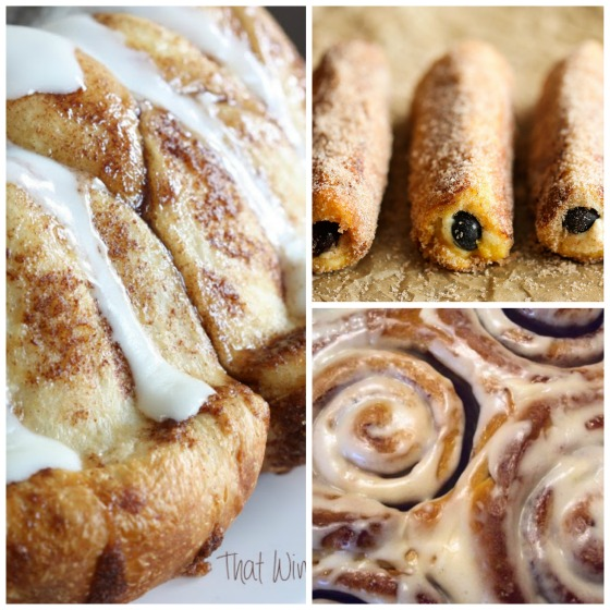 overnight monkey bread - blueberry breakfast roll ups - homemade cinnamon rolls with cream cheese icing