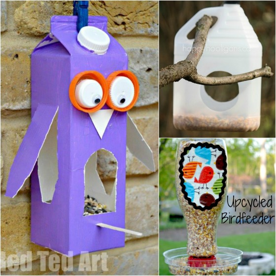 32 easy homemade bird feeders happy hooligans for Things to make out of recycled stuff