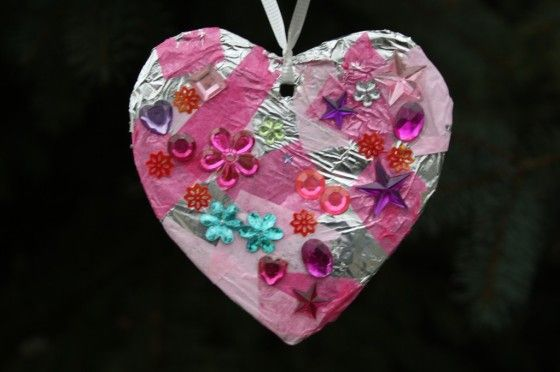 Valentines decoration for toddlers - heart decorated with tinfoil