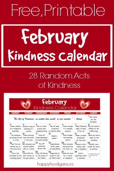 Kindness Calendar For February Happy Hooligans