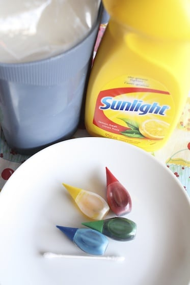 milk-dish soap - food colouring