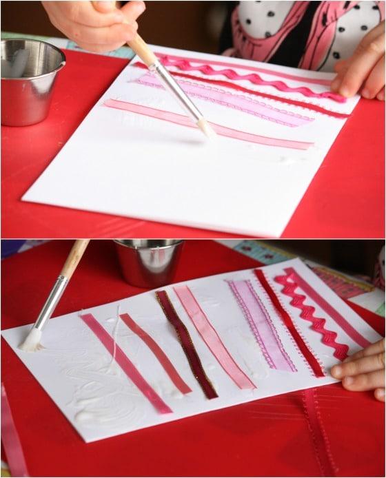 Ribbon strips valentines cards