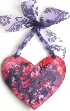 Valentines craft - heart with melted crayon shavings