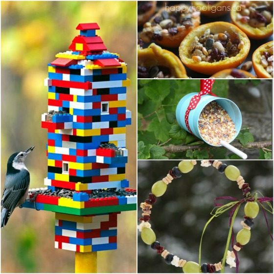 bird feeders made from lego - tin can- orange cups - fruit