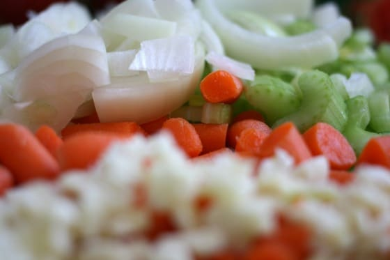 chopped vegetables for beef barley soup