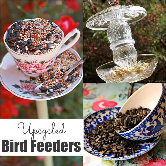 homemade bird feeders made out of old dishes