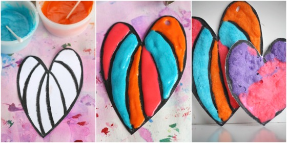 homemade puffy paint hearts craft for kids