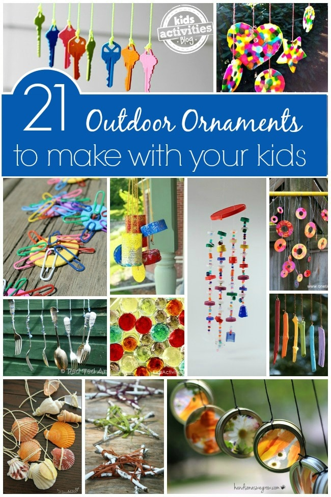 21 homemade outdoor ornaments for kids to make. Great to keep for your own backyard, porch or patio or to give as gifts.