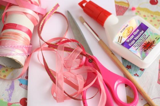 scrap ribbon valentines card supplies