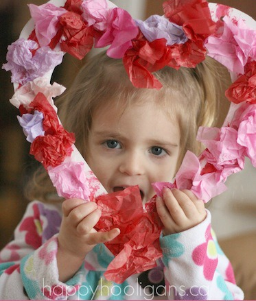 valentines craft for kids - wreath made of tissue paper